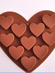 10 отверстий форме сердца шоколадные формы, силикон 15,6 × 14 × 2,4 см (6,1 × 5,5 × 1,0 дюйма)