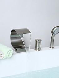 abordables -Grifo de bañera - Moderno Níquel Cepillado Bañera y ducha Válvula Cerámica / Latón / Sola manija Tres Agujeros