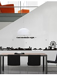 cheap -Wall Stickers Wall Decals, Style City Silhouette PVC Wall Stickers