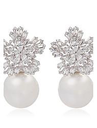 dames bijoux tendance neige mignon de fleurs et de perles boucles d'oreille élégantes boucles d'oreilles flocon forme cz généalogiques pour les femmes
