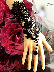 Eruner®Handcraft Black Lace Applique Rose Wedding Pearl Bracelet Gloves Slave Ring