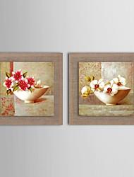 pintura a óleo moderna conjunto abstrato flor de 2 pintados à mão de linho natural, com quadro esticado