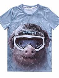 Fritid Tryk Mænds Kortærmet T-shirt Bomuld-Flerfarvet
