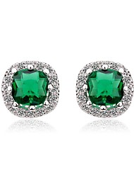 cheap -Women's White White Cubic Zirconia Stud Earrings - Cubic Zirconia Red / Green / Blue For