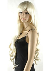 cheap -extral long women s excellent light blonde cosplay wig with side bang