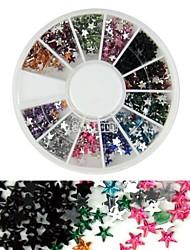 600pcs 12colours stjerneform akryl rhinestones hjul nail art dekoration