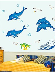 autoadesivi della parete stickers murali, adesivi murali pvc delfini luminosa