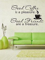 cheap -Wall Stickers Wall Decals, Coffee English Words & Quotes PVC Wall Stickers