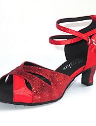 """Scarpe da ballo - Disponibile """"su misura"""" - Donna - Latinoamericano / Sala da ballo - Customized Heel - Satin / Glitter - Rosso"""
