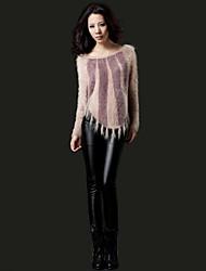 ženske modne zadebljanje PU koža hlače