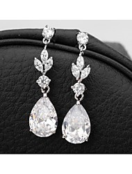 cheap -Elegant And Classic Princess Cut Women Long CZ Drop Earrings Unique Design Gold Plated Cubic Zircon Dangle Earrings