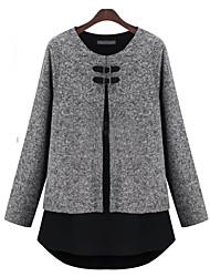 billige -Moderne Stil,Dame Farveblok Chic & Moderne Frakke