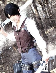 Inspired by Attack on Titan Levy Anime Cosplay Costumes Cosplay Suits Patchwork Long Sleeves Vest Shirt Pants For Male