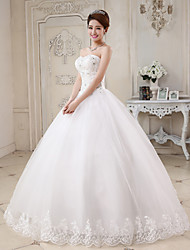 cheap -Ball Gown Sweetheart Neckline Floor Length Tulle Made-To-Measure Wedding Dresses with Beading / Appliques by