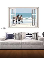3d décalcomanies stickers muraux de mur, mur mer et des chevaux décoration autocollants vinyle