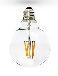 cheap -1pc 6W 600 lm E26/E27 LED Filament Bulbs G125 6 leds COB Dimmable Warm White AC 110-130V AC 220-240V