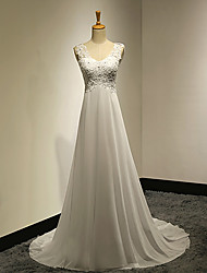 cheap -A-Line V Neck Sweep / Brush Train Chiffon Beaded Lace Wedding Dress with Appliques Button by VIVIANS BRIDAL