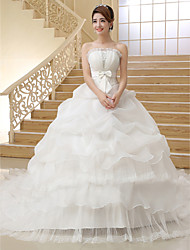 cheap -Ball Gown Strapless Cathedral Train Organza Wedding Dress with Bow Pick-Up by QQC Bridal