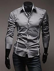 Masculino Camisa Casual Cor Solida Manga Comprida Algodão Preto / Branco / Cinza