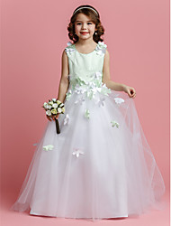 cheap -A-Line / Princess Sweep / Brush Train Flower Girl Dress - Satin / Tulle Sleeveless Jewel Neck with Beading / Flower by LAN TING BRIDE® / Spring / Summer / Fall / Color Block