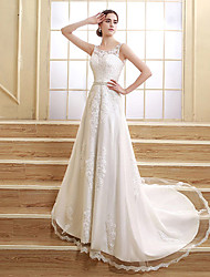 cheap -A-Line Jewel Neck Court Train Satin Tulle Wedding Dress with Beading Appliques by Sarahbridal