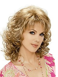 cheap -Synthetic Wig Blonde With Bangs Synthetic Hair Blonde Wig Medium Length
