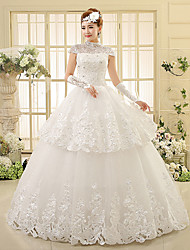 cheap -Ball Gown High Neck Floor Length Lace Wedding Dress with Beading Appliques Tiered by