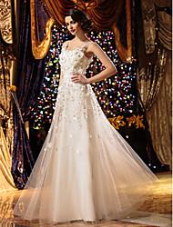baratos -Linha A Scoop pescoço Longo Tule Vestidos de noiva personalizados com Bordado Flor de LAN TING BRIDE®