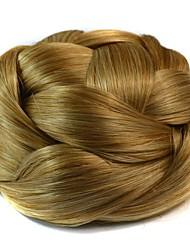 Loiro Crespo Cacheado Bolo de cabelo Updo Entrançado Coques Com Presilha Cabelo Sintético Pedaço de cabelo Alongamento