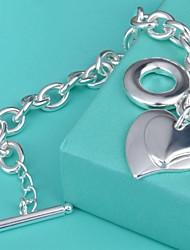 abordables -Brazalete tobillo - Plata de ley Corazón Gemelo, Diseño Único, Moda Pulseras y Brazaletes Plateado Para Cumpleaños / Pedida / Regalo