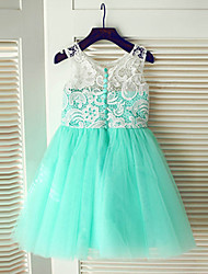 cheap -A-Line Knee Length Flower Girl Dress - Chiffon Sleeveless Jewel Neck with Lace / Pleats by LAN TING BRIDE®