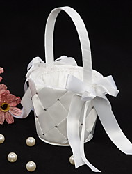 panier de fleurs en satin blanc avec ruban arc fille fleur panier