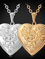 cheap -U7® Rose Flower Floating Locket Necklace Heart Photoes Pendant Charms 18K Gold Plated Choker Necklace Fashion Jewelry