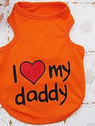 abordables -Chien Tee-shirt Vêtements pour Chien Vacances Lettre et chiffre Cœur Orange Gris Bleu Rose Costume Pour les animaux domestiques