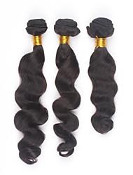 baratos -PANSY Trama Extensões de cabelo humano Ondulação Larga Cabelo Humano Cabelo Brasileiro Mulheres - Preto Natural
