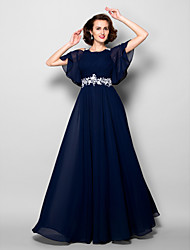 cheap -A-Line Jewel Neck Floor Length Chiffon Mother of the Bride Dress with Beading Appliques Side Draping Criss Cross by LAN TING BRIDE®