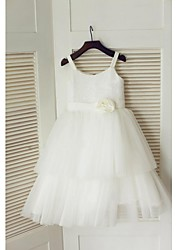 cheap -A-Line Tea Length Flower Girl Dress - Tulle Sequined Sleeveless Spaghetti Straps with Flower(s) Sash / Ribbon Pleats by LAN TING BRIDE®
