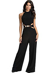 Women's Party Sexy Solid Halter Jumpsuits,Wide Leg Sleeveless Spring Fall