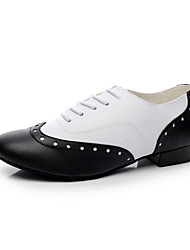 cheap -Men's Dance Shoes Modern Leather Flat Heel Black
