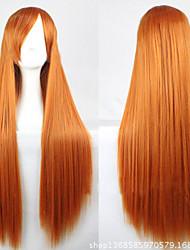 baratos -Perucas sintéticas Liso Dourado Corte Assimétrico Cabelo Sintético 28 polegada Riscas Naturais Dourado Peruca Mulheres Longo Sem Touca Amarelo Dourado
