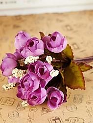 Недорогие -Филиал Шелк Пластик Розы Букеты на стол Искусственные Цветы