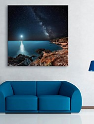 cheap -E-HOME® Stretched LED Canvas Print Art The Shore of The Night Flash Effect LED Flashing Optical Fiber Print