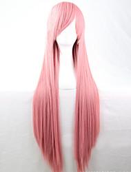 baratos -Perucas sintéticas Liso Rosa Corte Assimétrico Cabelo Sintético Riscas Naturais Rosa Peruca Mulheres Longo Sem Touca