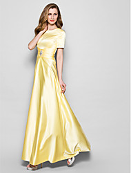 cheap -A-Line Jewel Neck Floor Length Satin Mother of the Bride Dress with Crystal Detailing Sash / Ribbon Ruching by LAN TING BRIDE®