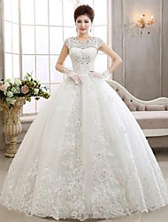 Ball Gown Illusion Neckline Floor Length Lace Tulle Wedding Dress with Beading Appliques by QQC Bridal