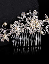 cheap -Material Sterling Silver Alloy Hair Combs Flowers Headpiece with Beading Wedding Party Special Occasion Headpiece