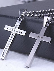 cheap -Personalized Gift Casting Stainless Steel Cross Shaped Pendant Necklace Engraved Jewelry