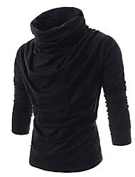 preiswerte -Herren T-shirt-Einfarbig Freizeit Baumwollmischung Lang-Schwarz / Rot / Weiß / Grau