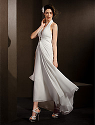 cheap -Sheath / Column Halter Asymmetrical Chiffon Custom Wedding Dresses with Draping Side-Draped Crystal Floral Pin by LAN TING BRIDE®