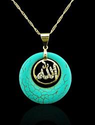 abordables -Oro verdadero 18k plateó allah musulmán colgante turquesa